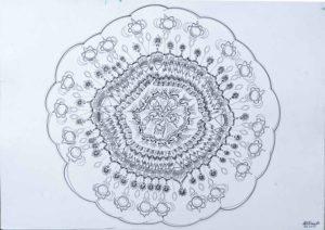 Mandala noir et blanc. La corrélation de toutes choses.